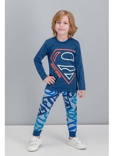 Superman Superman Lisanslı Mavi Erkek Çocuk Pijama Takımı Lacivert